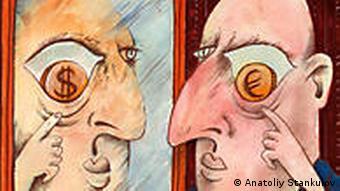 Bulgarien Karikatur Anatoliy Stankulov EU gegen Dollar
