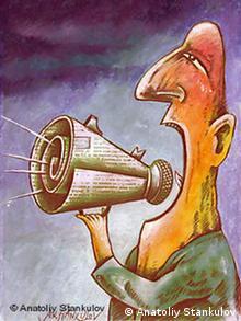 Bulgarien Karikatur Anatoliy Stankulov Die Macht der Medien