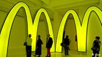 Neon McDonald's Ms at the Japanese Pavilion at the Venice Biennale