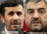 محمد علی  جعفری، فرمانده سپاه پاسداران (راست) و محمود احمدی نژاد، رئیسجمهور  ایران