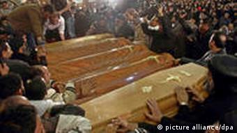 coffins of Copts killed in blast