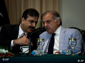Pakistan's Prime Minister Pakistan's Prime Minister Yousuf Raza Gilani, left, consults with chief minister of Punjab province Shahbaz Sharif during a news conference regarding the power crisis the country is facing, Thursday, April 22, 2010, in Islamabad, Pakistan. Pakistan announced a raft of energy saving measures on Thursday aimed at easing the crisis that leaves much of the country powerless for up to 16 hours a day and stokes anger at the shaky, U.S.-allied government. (AP Photo/B.K.Bangash), left, consults with chief minister of Punjab province Shahbaz Sharif during a news conference regarding the power crisis the country is facing, Thursday, April 22, 2010, in Islamabad, Pakistan. Pakistan announced a raft of energy saving measures on Thursday aimed at easing the crisis that leaves much of the country powerless for up to 16 hours a day and stokes anger at the shaky, U.S.-allied government. (AP Photo/B.K.Bangash)