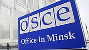 The sign in front of the OSCE office in Minsk