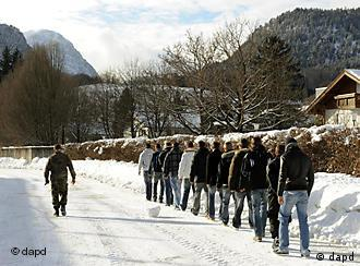 A group of the last conscripted German youths heads off to train with the Bundeswehr