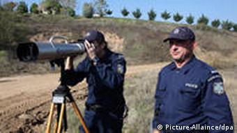Greek police officers patrol near Orestiada