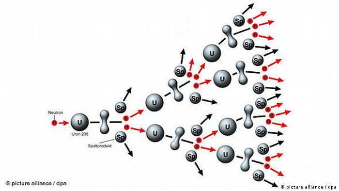 Die Grafik zeigt das Prinzip der Kernspaltung bei Uran (Grafik: picture alliance/dpa)