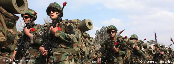 Afghan soldiers marching after graduation