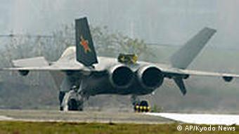 A Chinese J-20 stealth plane is seen after finishing a runway test in Chengdu, southwest China