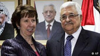 Palestinian President Mahmoud Abbas shakes hands with the European Union Foreign Policy Chief Catherine Ashton in the West Bank city of Ramallah, Thursday, Jan. 6, 2011. Ashton is on an official visit to the region. (AP Photo/Majdi Mohammed, Pool)