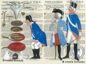 Illustration aus dem Buch Von Kaffeeriechern, Abtrittanbietern und Fischbeinreißern - Berufe aus vergangenen Tagen (Copyright: Irmela Schautz)