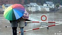Spaziergaengerinnen mit einem Regenschirm stehen am Freitag (07.01.11) in Trier auf die Hochwasser tragende Mosel. Tauwetter und Regen haben am Freitag die Pegel vieler Fluesse stark ansteigen lassen. In Rheinland-Pfalz wiesen vor allem Rhein, Mosel, Lahn und Nahe stark steigende Pegel auf. In Koblenz richtet sich die Berufsfeuerwehr auf das schlimmste Hochwasser seit zehn Jahren ein. Mehrere Bundesstrassen im Raum Cochem wurden gesperrt. Die Situation wird sich in den kommenden Tagen wahrscheinlich verschaerfen. Laut Deutschem Wetterdienst regnet und taut es weiter. (zu dapd-Text) Foto: Harald Tittel/dapd