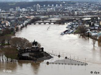 Flooding at Koblenz at the confluence of the rivers Moselle and Rhine.