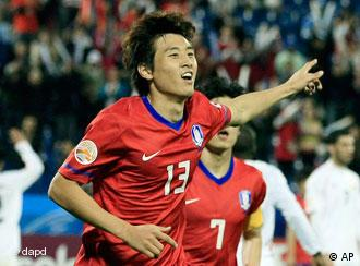 Reason to celebrate: Koo Jo Cheol scored four times for South Korea in the group stage
