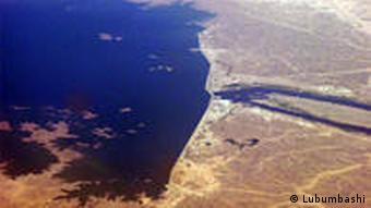 An aerial shot of the Merowe Dam