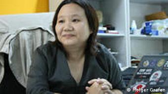 Prachatai-journalist Chiranuch Premchaiporn in her office.