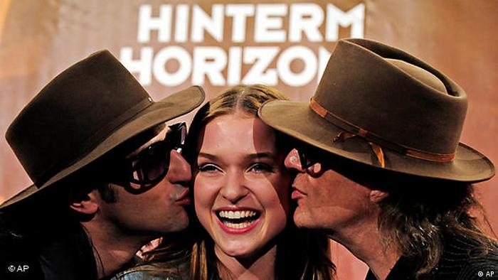 Udo Lindenberg with actors of the musical Hinterm Horizont. (AP)