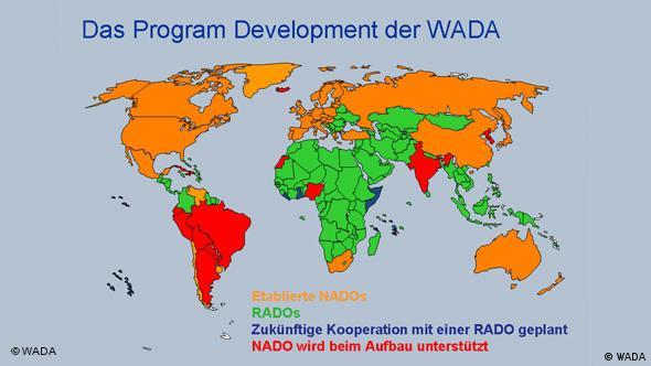 Weltkarte zur Entwicklung des Anti-Doping-Kampfs in den einzelnen Ländern (Grafik: WADA)