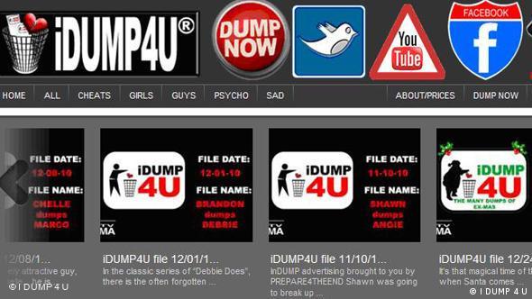 Screenshot von der Internetseite I DUMP 4 U Flash-Galerie