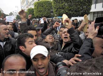 تصویری از تظاهرات مردم در تونس در روز سهشنبه ۱۸ ژانویه
