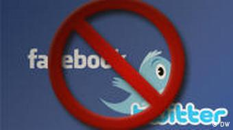 Facebook and Twitter logos with a banned symbol