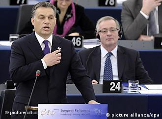 Viktor Orban speaking to the European Parliament