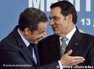 Nicolas Sarkozy e Ben Ali, em 2008: 'apoio constrangedor', diz Schami