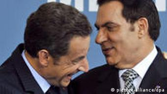 French President Sarkozy with ousted Tunisian leader Ben Ali