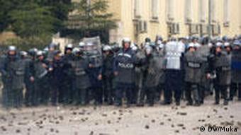 protesters in Albania