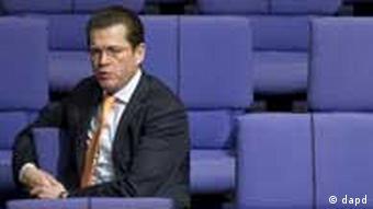 German Defense Minister Guttenberg in parliament