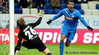 Marvin Compper scores the opener for Hoffenheim