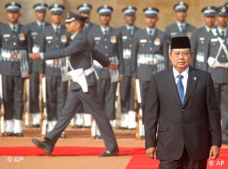 Indonesian President Susilo Bambang Yudhoyono at a ceremonial reception in New Delhi