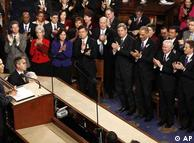 سخنان پرشور اوباما در کنگره آمریکا، چندین بار با استقبال نمایندگان هر دو حزب مواجه شد