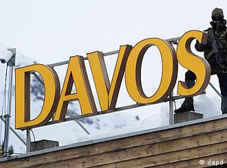 Sign spelling out Davos