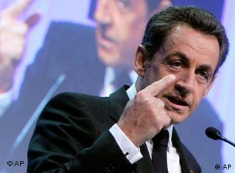 French President Nicolas Sarkozy delivers his address at the World Economic Forum in Davos, Switzerland