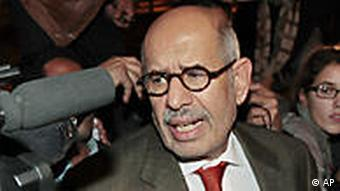 Former Director General of the International Atomic Energy Agency, IAEA, and Nobel Peace Prize winner Mohamed ElBaradei talks to members of the media as he arrives at Cairo's airport in Egypt, from Austria, Thursday, Jan. 27, 2011.