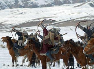 Recreation of a scene with Mongol horseback archers
