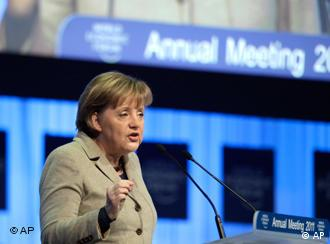 German Chancellor Angela Merkel speaks at the World Economic Forum