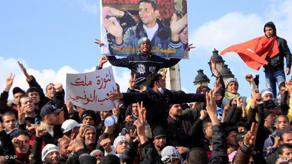 Demonstration gegen Diktator Ben Ali im Februar 2011 in Tunis (Foto: AP)