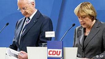 Stoiber und Merkel am Tag danach