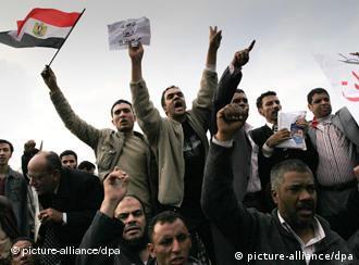 Demonstration against the regime of President Mubarak in El Tahrir square in Cairo.