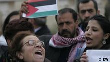 Small demonstration in Ramallah supporting Tunis; Copyright: DW