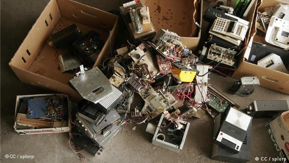 A box of assorted electronic waste