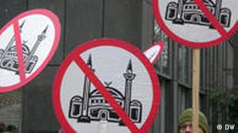 Posters protesting the central mosque in Cologne