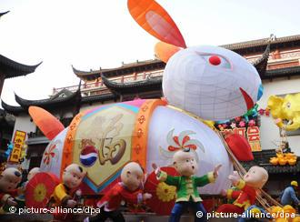 People in Shanghai are celebrating with this giant rabbit lantern