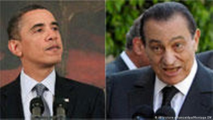 Symbolbild Barack Obama und Husni Mubarak - Thema USA därngen auf Wende (AP/picture-alliance/dpa/Montage DW)