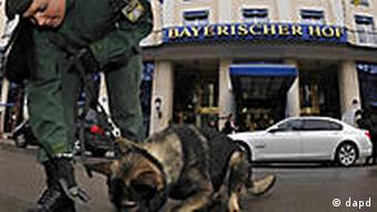 A German policewoman with a police dog in Munich