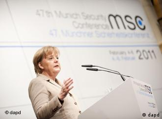 Anegla Merkel addressing the Munich Security Conference