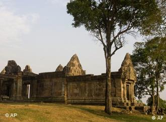 The Preah Vihear temple is seen on the Cambodian-Thai- border