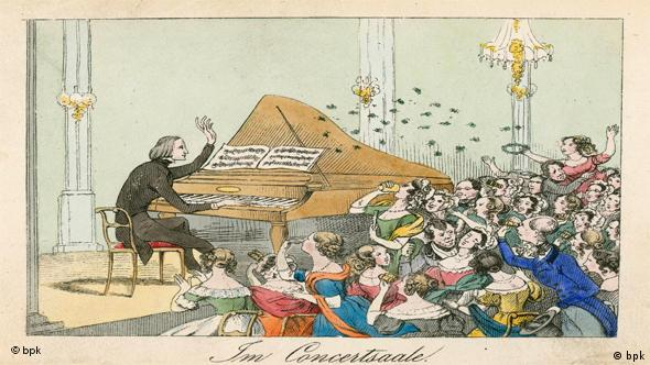 A drawing of Franz Liszt in the Berliner Singakademie, 1842