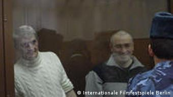 Imprisoned Khodorkovsky behind a glass wall as shown in the film
